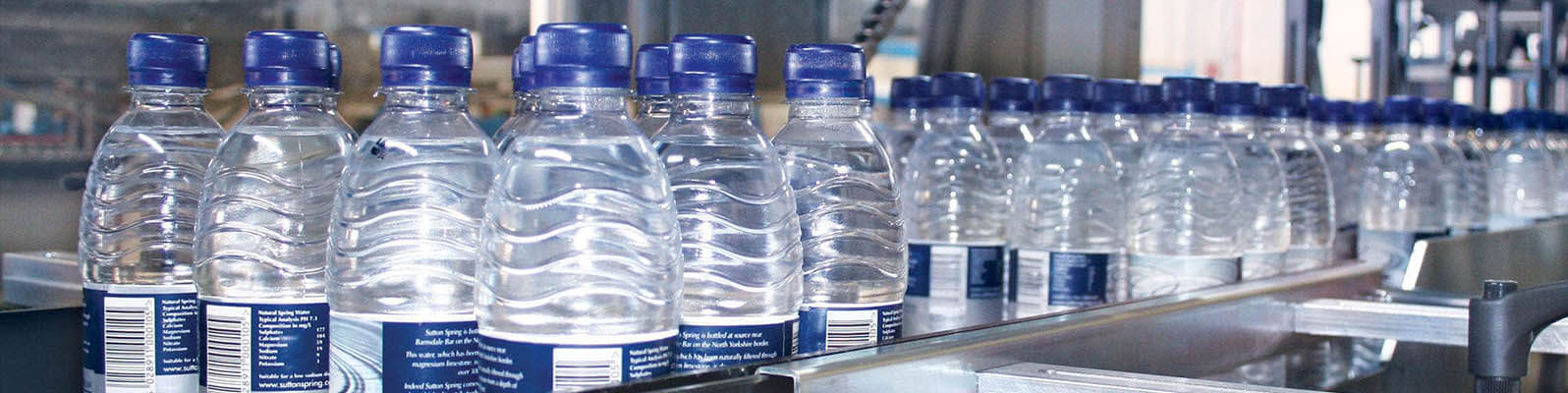 12 pack of water bottles getting poly bundled