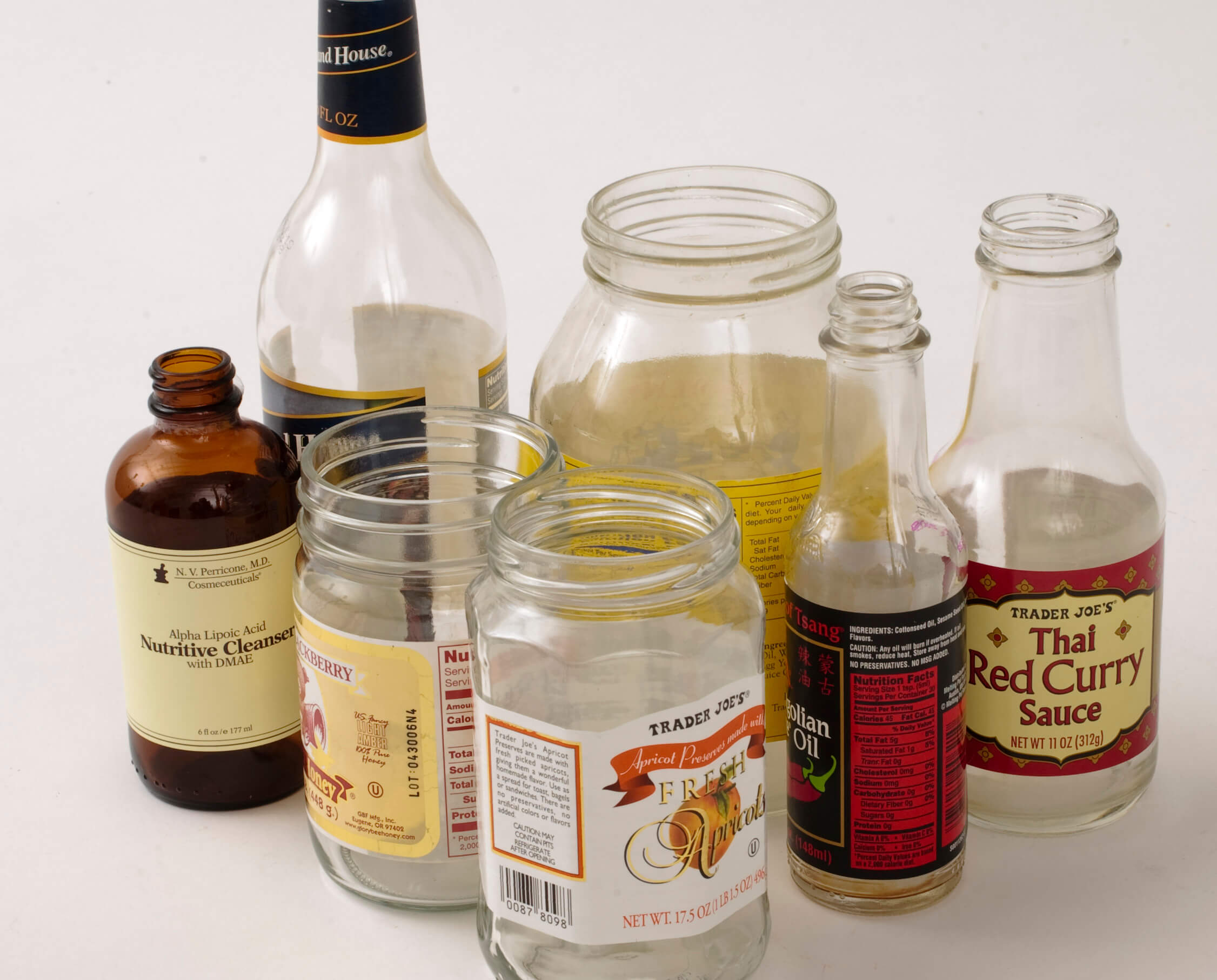 various types of bottles and jars